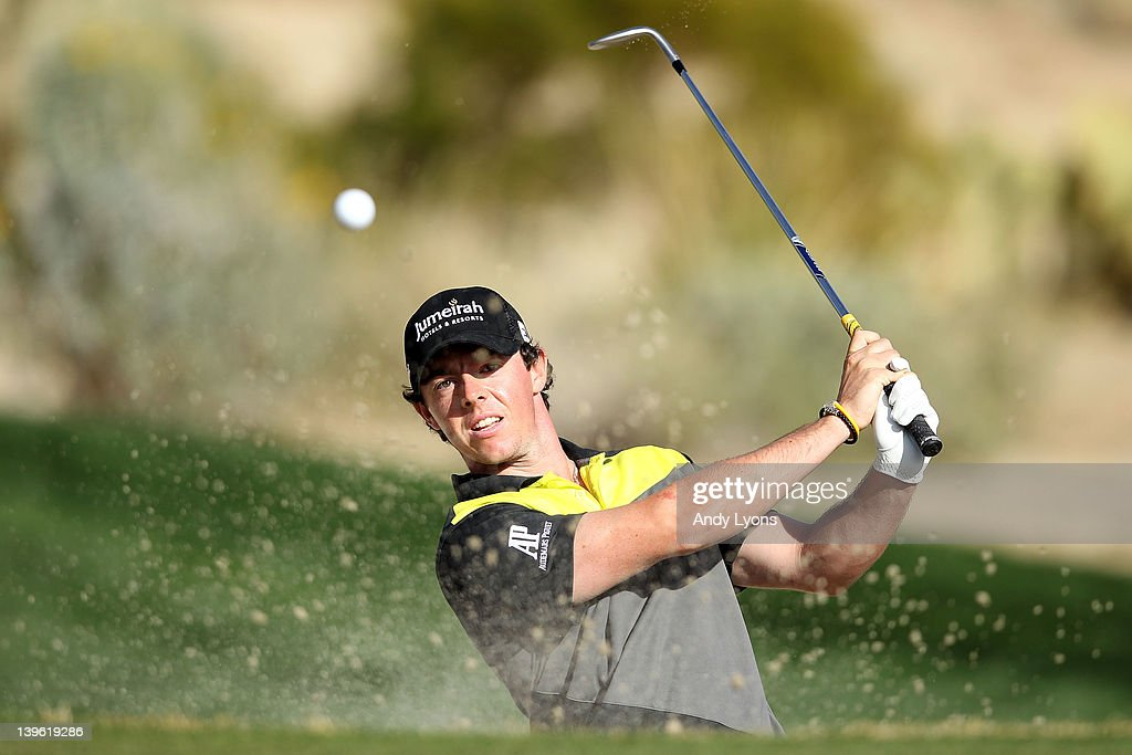 Rory McIlroy of Northern Ireland hits from a bunker on the 16th hole during the second round of the World Golf ChampionshipsAccenture Match Play...