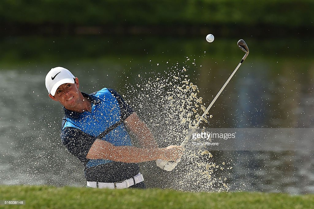 Rory McIlroy of Northern Ireland hits from a green side bunker on the 17th hole during the second round of the Arnold Palmer Invitational Presented by MasterCard at Bay Hill Club and Lodge on March 18, 2016 in Orlando, Florida.