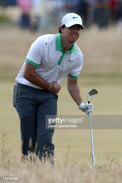 Rory McIlroy of Northern Ireland hits his 2nd shot on the 1st hole during the first round of the 142nd Open Championship at Muirfield on July 18 2013...