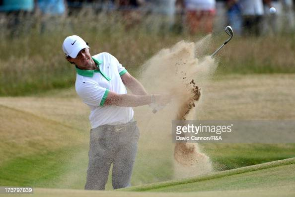 Rory McIlroy of Northern Ireland hits his 3rd shot on the 1st hole during the first round of the 142nd Open Championship at Muirfield on July 18 2013...