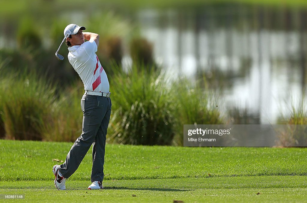 Rory McIlroy of Northern Ireland hits his approach shot on the eighth hole during the first round of the Honda Classic at PGA National Resort and Spa on February 28, 2013 in Palm Beach Gardens, Florida.