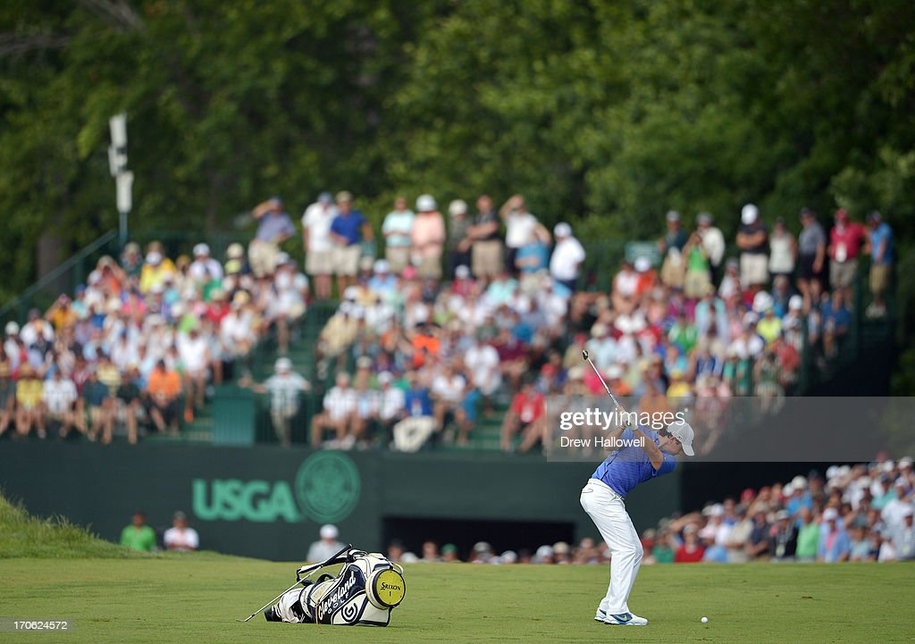 Rory McIlroy of Northern Ireland hits his second shot on the eighth hole during Round Three of the 113th U.S. Open at Merion Golf Club on June 15, 2013 in Ardmore, Pennsylvania.