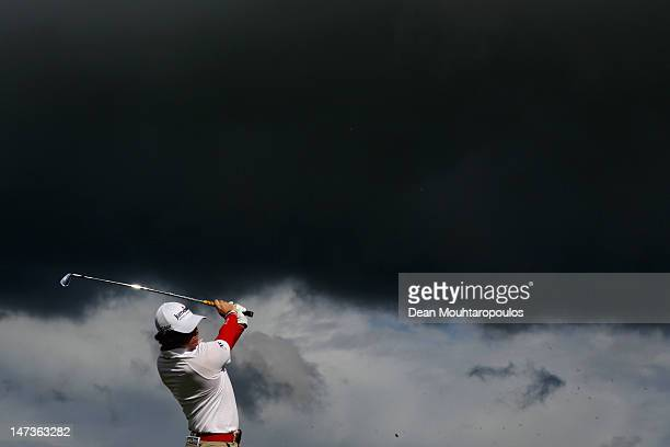 Rory McIlroy of Northern Ireland hits his tee shot on the 14th hole during Day One of the 2012 Irish Open held on the Dunluce Links at Royal Portrush...