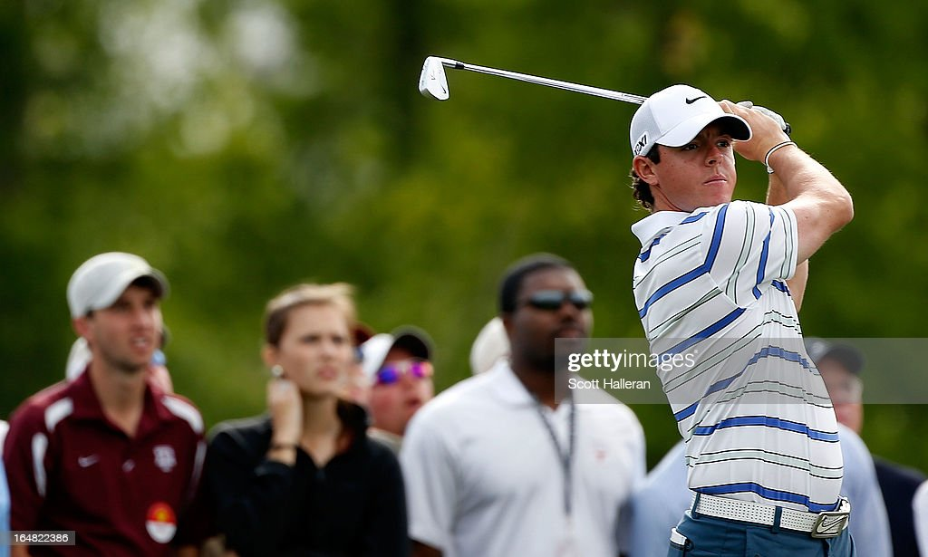 Rory McIlroy of Northern Ireland hits his tee shot on the 16th hole during the first round of the Shell Houston Open at the Redstone Golf Club on March 28, 2013 in Humble, Texas.