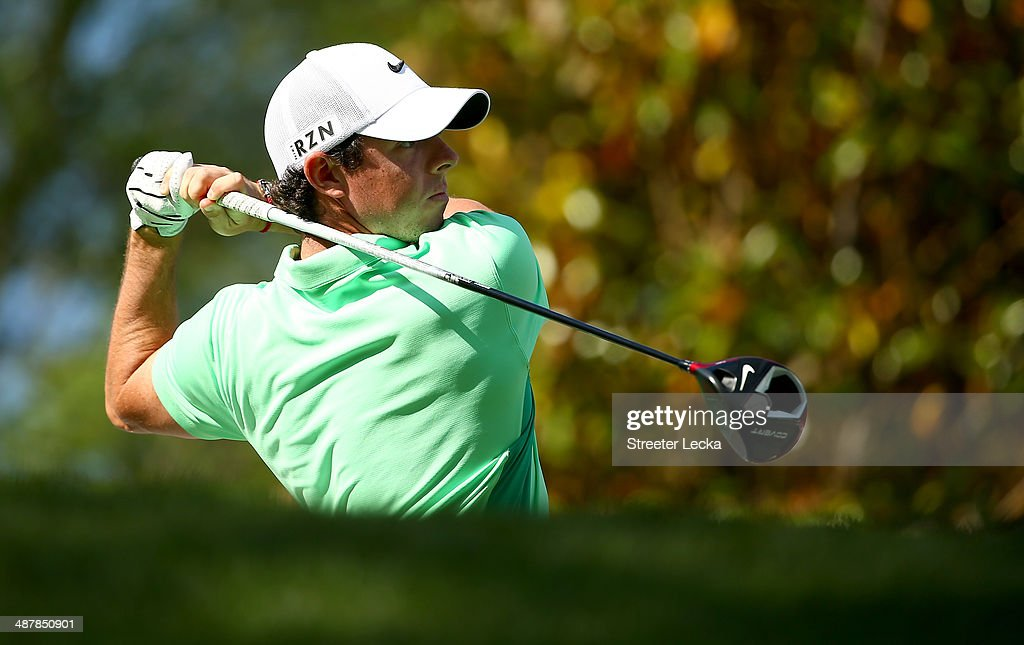 Rory McIlroy of Northern Ireland hits his tee shot on the 16th hole during the second round of the Wells Fargo Championship at Quail Hollow Club on May 2, 2014 in Charlotte, North Carolina.