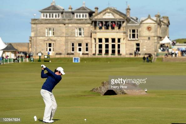 Rory McIlroy of Northern Ireland hits his tee shot on the 18th hole during the third round of the 139th Open Championship on the Old Course St...