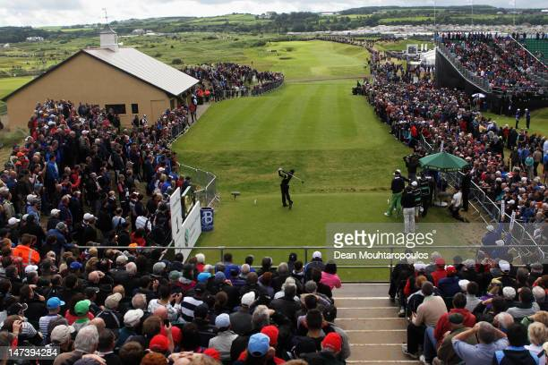 Rory McIlroy of Northern Ireland hits his tee shot on the 1st hole during Day Two of the 2012 Irish Open held on the Dunluce Links at Royal Portrush...