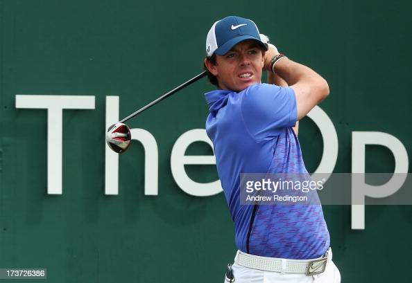Rory McIlroy of Northern Ireland hits his tee shot on the 1st hole ahead of the 142nd Open Championship at Muirfield on July 17 2013 in Gullane...