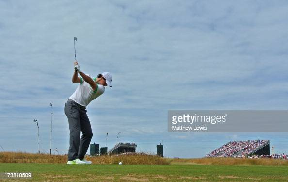 Rory McIlroy of Northern Ireland hits his tee shot on the 7th hole during the first round of the 142nd Open Championship at Muirfield on July 18 2013...