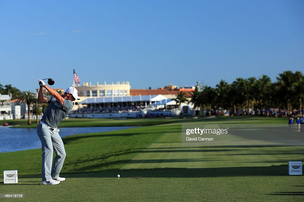 Rory McIlroy of Northern Ireland hits his tee shot on the eighteenth hole during the second round of the World Golf Championships-Cadillac Championship at Trump National Doral Blue Monster Course on March 6, 2015 in Doral, Florida.