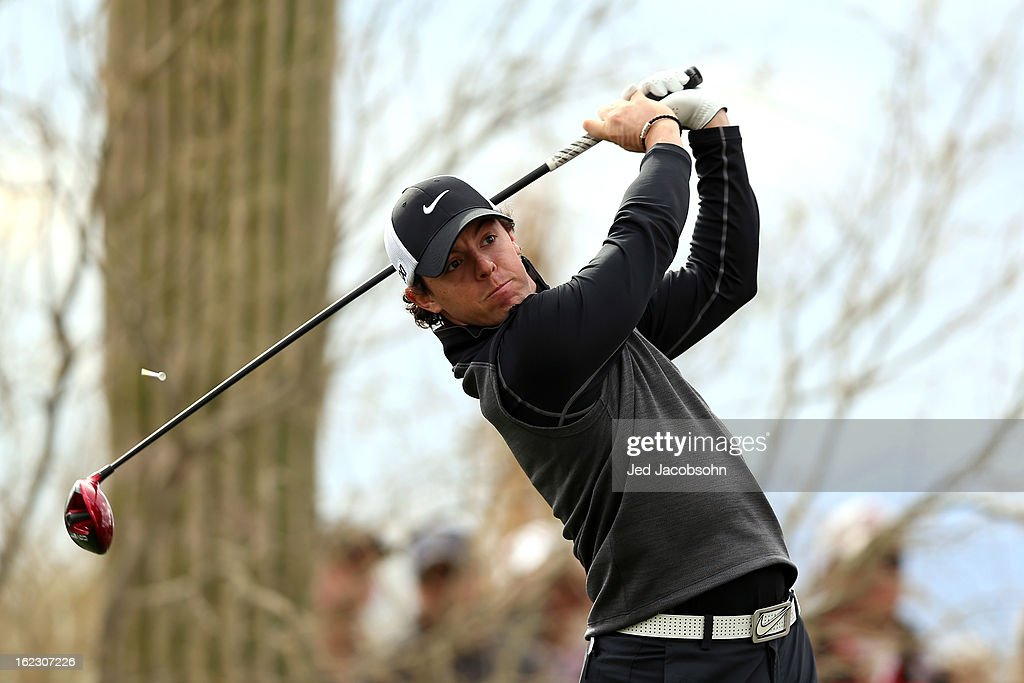 <a gi-track='captionPersonalityLinkClicked' href=/galleries/search?phrase=Rory+McIlroy&family=editorial&specificpeople=783109 ng-click='$event.stopPropagation()'>Rory McIlroy</a> of Northern Ireland hits his tee shot on the eighth hole during the first round of the World Golf Championships - Accenture Match Play at the Golf Club at Dove Mountain on February 21, 2013 in Marana, Arizona. Round one play was suspended on February 20 due to inclimate weather and is scheduled to be continued today.