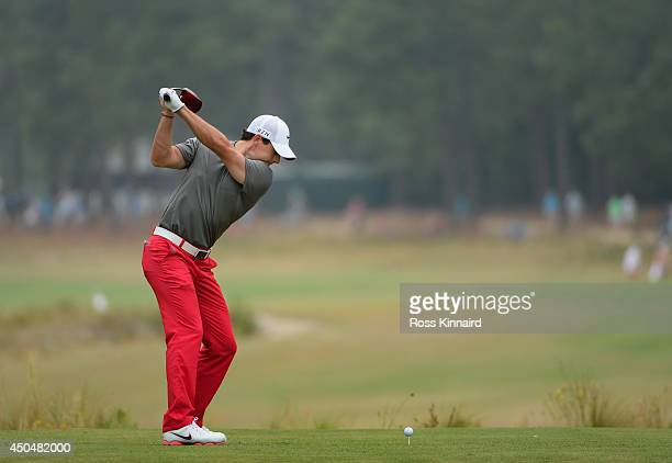 Rory McIlroy of Northern Ireland hits his tee shot on the fifth hole during the first round of the 114th US Open at Pinehurst Resort Country Club...
