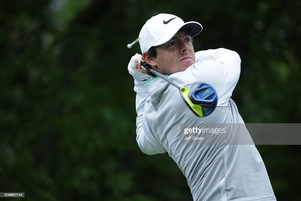 Rory McIlroy of Northern Ireland hits his tee shot on the fifth hole during the second round of the Wells Fargo Championship at Quail Hollow Club on May 6, 2016 in Charlotte, North Carolina.
