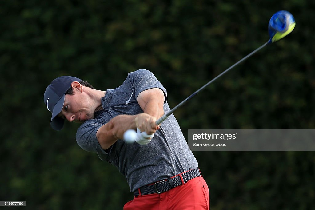 Rory McIlroy of Northern Ireland hits his tee shot on the ninth hole during the final round of the Arnold Palmer Invitational Presented by MasterCard...