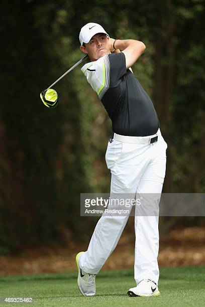 Rory McIlroy of Northern Ireland hits his tee shot on the second hole during the third round of the 2015 Masters Tournament at Augusta National Golf...