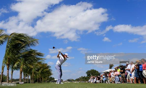 Rory McIlroy of Northern Ireland hits his tee shot on the second hole during the second round of the World Golf ChampionshipsCadillac Championship at...