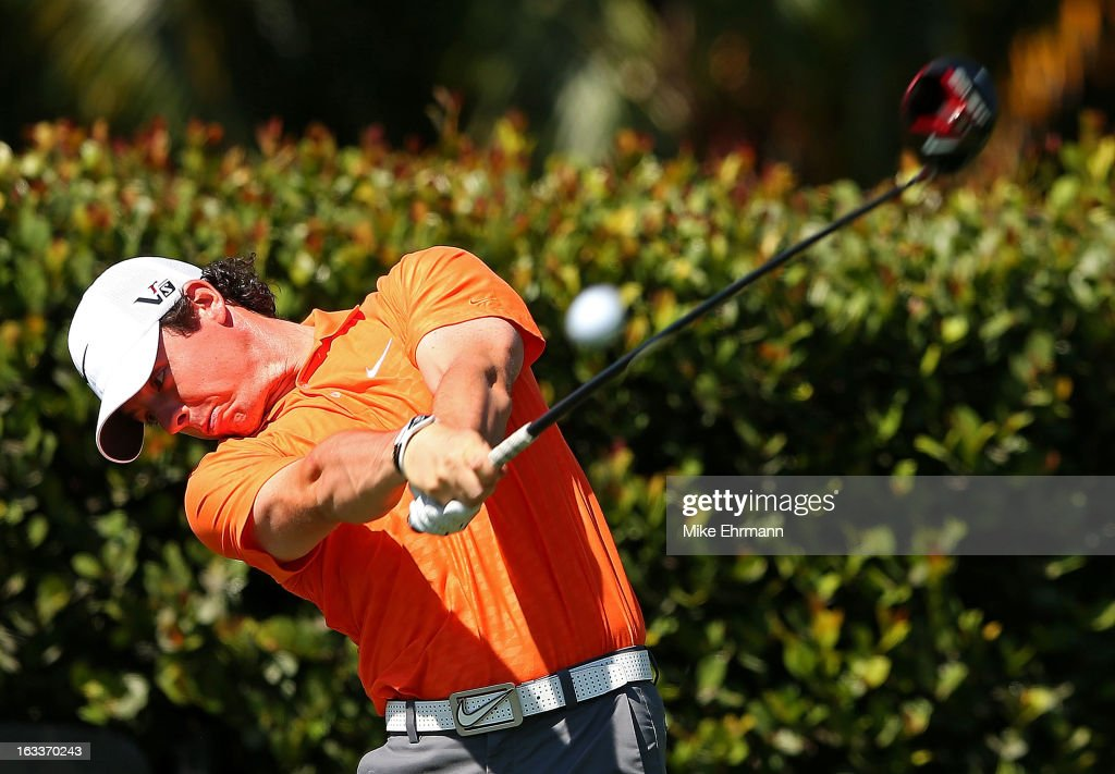 Rory McIlroy of Northern Ireland hits his tee shot on the seventh hole during the second round of the WGC-Cadillac Championship at the Trump Doral Golf Resort & Spa in on March 8, 2013 in Doral, Florida.