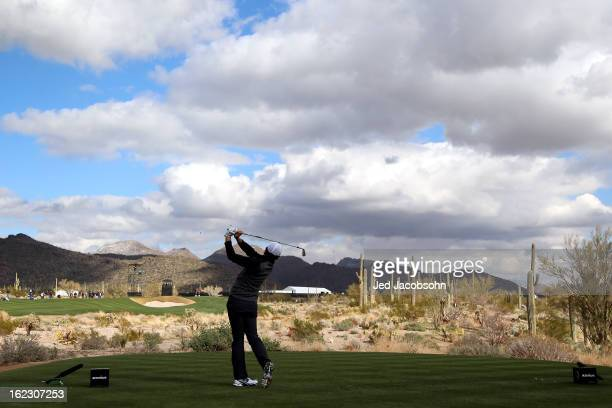 Rory McIlroy of Northern Ireland hits his tee shot on the sixth hole during the first round of the World Golf Championships Accenture Match Play at...