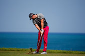 Rory McIlroy of Northern Ireland hits his tee shot on the third hole during the first round of the 2015 PGA Championship at Whistling Straits on...