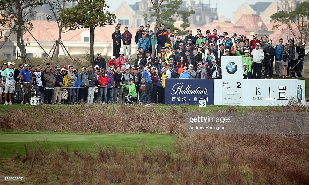 Rory McIlroy of Northern Ireland hits his tee-shot on the second hole during the third round of the BMW Masters at Lake Malaren Golf Club on October 26, 2013 in Shanghai, China.