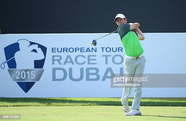 Rory McIlroy of Northern Ireland hits his teeshot on the sixth hole during the third round of the DP World Tour Championship on the Earth Course at...