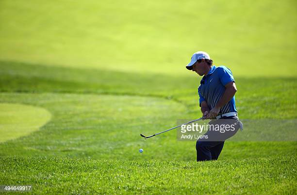 Rory McIlroy of Northern Ireland hits his third shot on the 15th hole during the second round of the Memorial Tournament presented by Nationwide...