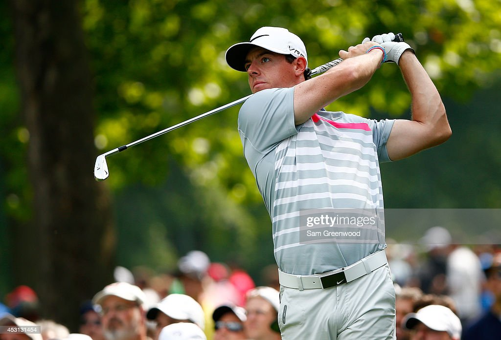 Rory McIlroy of Northern Ireland hits off the fifth tee during the final round of the World Golf Championships-Bridgestone Invitational at Firestone Country Club South Course on August 3, 2014 in Akron, Ohio.