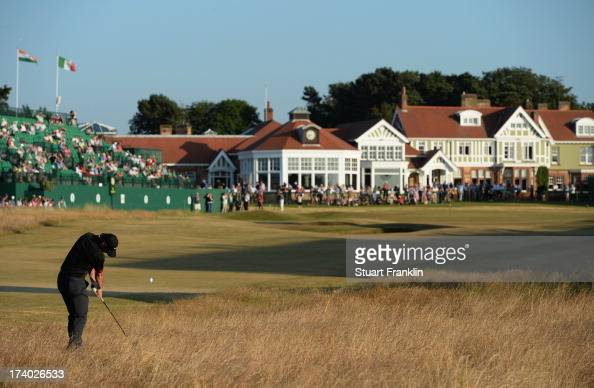 Rory McIlroy of Northern Ireland hits on the 18th hole during the second round of the 142nd Open Championship at Muirfield on July 19 2013 in Gullane...