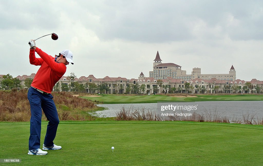 Rory McIlroy of Northern Ireland hits tee-shot on the ninth hole during the second round of the BMW Masters at Lake Malaren Golf Club on October 25, 2013 in Shanghai, China.