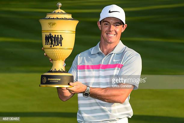 Rory McIlroy of Northern Ireland holds the Gary Player Cup after his two stroke victory against Sergio Garcia of Spain in the final round of the...