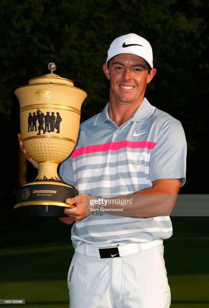 <a gi-track='captionPersonalityLinkClicked' href=/galleries/search?phrase=Rory+McIlroy&family=editorial&specificpeople=783109 ng-click='$event.stopPropagation()'>Rory McIlroy</a> of Northern Ireland holds the Gary Player Cup trophy after winning the World Golf Championships-Bridgestone Invitational with a score of -15 during the final round at Firestone Country Club South Course on August 3, 2014 in Akron, Ohio.