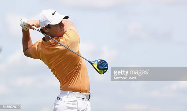 Rory McIlroy of Northern Ireland in action during a proam round ahead of the 100th Open de France at Le Golf National on June 29 2016 in Paris France