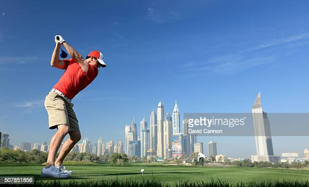 Rory McIlroy of Northern Ireland in action during his practice round as a preview for the 2016 Omega Dubai Desert Classic on the Majlis Course at the...