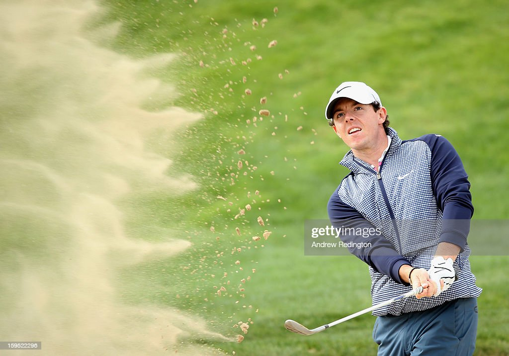Rory McIlroy of Northern Ireland in action during practice for The Abu Dhabi HSBC Golf Championship at Abu Dhabi Golf Club on January 15, 2013 in Abu Dhabi, United Arab Emirates.
