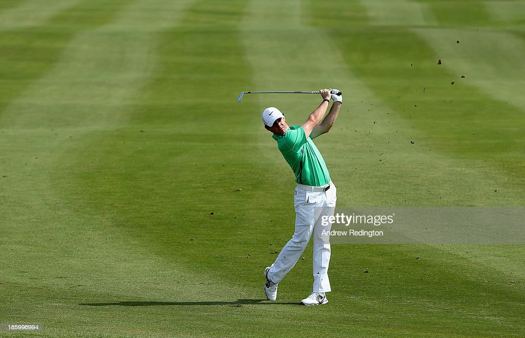 Rory McIlroy of Northern Ireland in action during the final round of the BMW Masters at Lake Malaren Golf Club on October 27, 2013 in Shanghai, China.
