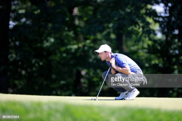 Rory McIlroy of Northern Ireland in action during the fourth round of the Travelers Championship Tournament at the TPC River Highlands Golf Course on...