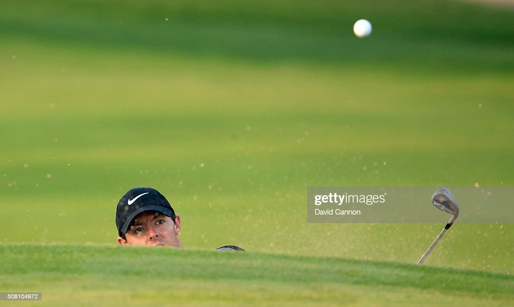 Rory McIlroy of Northern Ireland in action during the proam as a preview for the 2016 Omega Dubai Desert Classic on the Majlis Course at the Emirates...