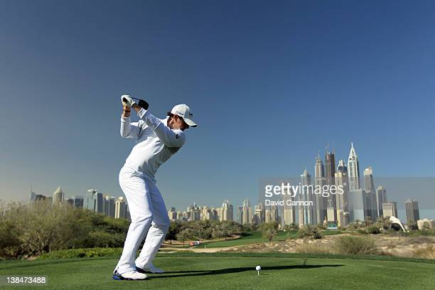 Rory McIlroy of Northern Ireland in practice as a preview for the 2012 Omega Dubai Desert Classic on the Majilis Course at the Emirates Golf Club on...