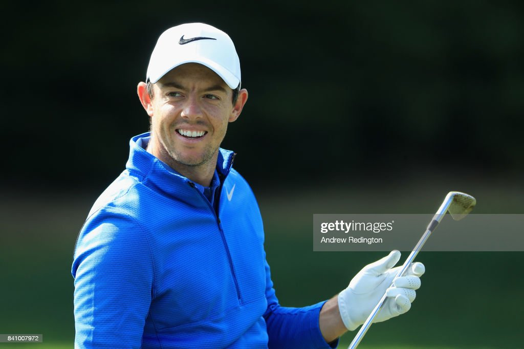 Rory McIlroy of Northern Ireland is pictured on the practice ground during practice for the Dell Technologies Championship on August 30, 2017 in Norton, Massachusetts.