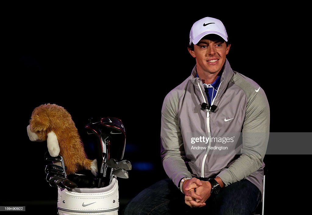 Rory McIlroy of Northern Ireland is unveiled as a new brand ambassador for Nike at the Fairmont hotel on January 14, 2013 in Abu Dhabi, United Arab Emirates.