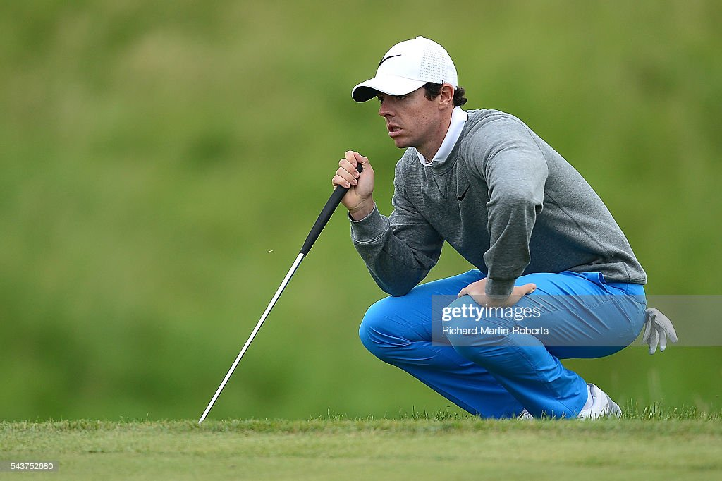 <a gi-track='captionPersonalityLinkClicked' href=/galleries/search?phrase=Rory+McIlroy&family=editorial&specificpeople=783109 ng-click='$event.stopPropagation()'>Rory McIlroy</a> of Northern Ireland lines up a putt during the first round of the 100th Open de France at Le Golf National on June 30, 2016 in Paris, France.