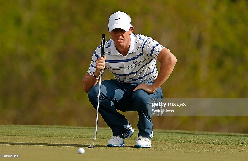 Rory McIlroy of Northern Ireland lines up a putt on the 17th hole during the first round of the Shell Houston Open at the Redstone Golf Club on March 28, 2013 in Humble, Texas.