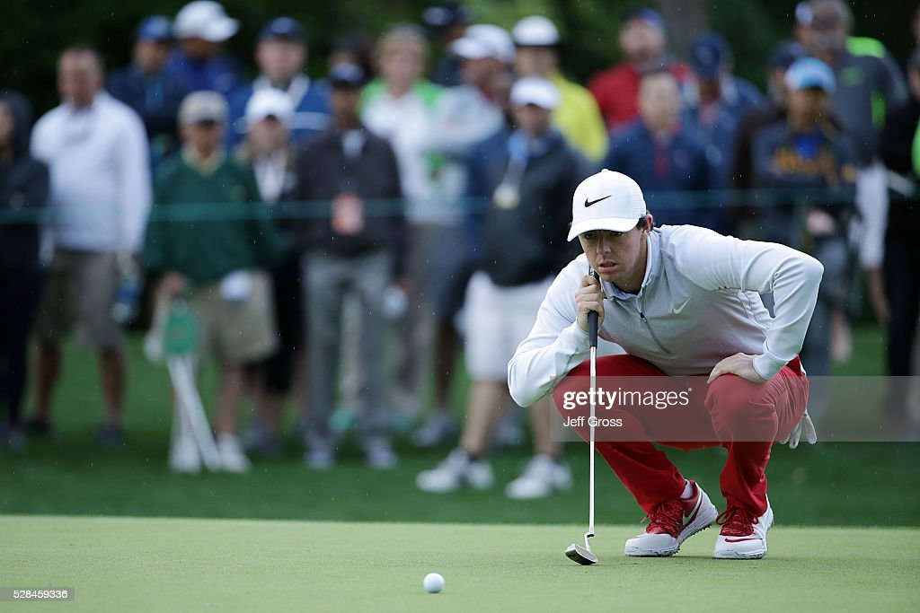 Rory McIlroy of Northern Ireland lines up a putt on the tenth green during the first round of the Wells Fargo Championship at Quail Hollow Club on May 5, 2016 in Charlotte, North Carolina.