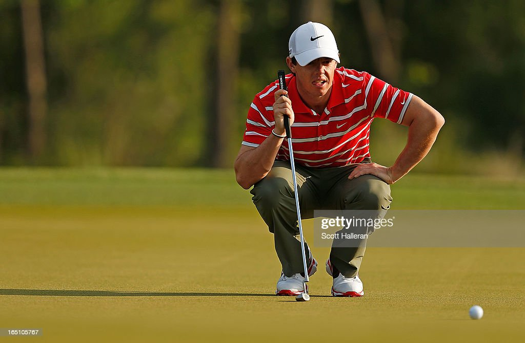 Rory McIlroy of Northern Ireland lines up his birdie putt on the second hole during the third round of the Shell Houston Open at the Redstone Golf Club on March 30, 2013 in Humble, Texas.