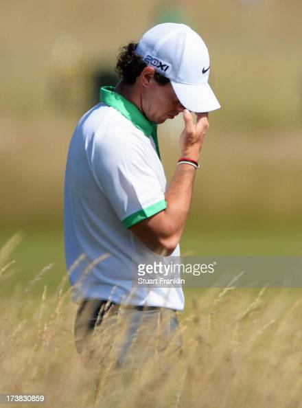 Rory McIlroy of Northern Ireland looks dejected on the 14th hole during the first round of the 142nd Open Championship at Muirfield on July 18 2013...