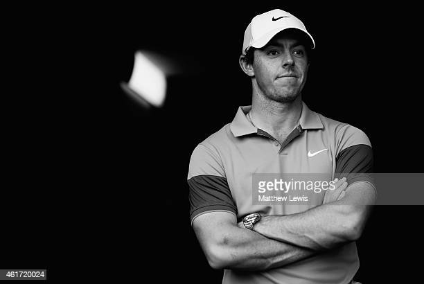 Rory McIlroy of Northern Ireland looks on after coming second in the Abu Dhabi HSBC Golf Championship at Abu Dhabi Golf Club on January 18 2015 in...