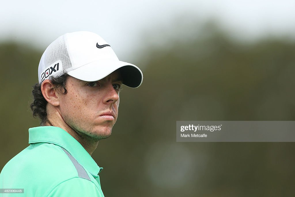 <a gi-track='captionPersonalityLinkClicked' href=/galleries/search?phrase=Rory+McIlroy&family=editorial&specificpeople=783109 ng-click='$event.stopPropagation()'>Rory McIlroy</a> of Northern Ireland looks on during day one of the 2013 Australian Open at Royal Sydney Golf Club on November 28, 2013 in Sydney, Australia.