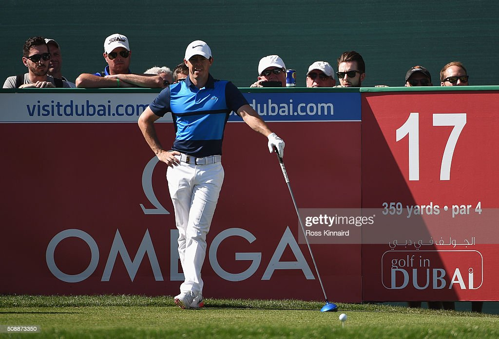 Rory McIlroy of Northern Ireland looks on from the 17th tee during the final round of the Omega Dubai Desert Classic at the Emirates Golf Club on February 7, 2016 in Dubai, United Arab Emirates.