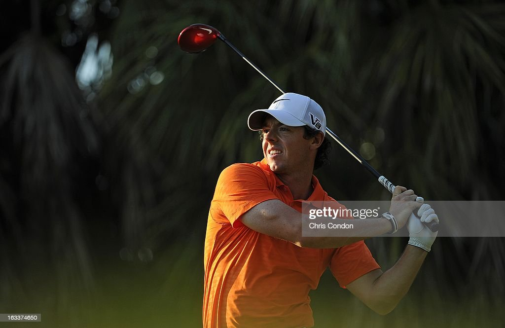 Rory McIlroy of Northern Ireland on the 16th hole during the second round of the World Golf Championships-Cadillac Championship at TPC Blue Monster at Doral on March 8, 2013 in Doral, Florida.