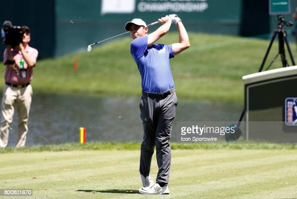 Rory McIlroy of Northern Ireland on the 16th tee during the final round of the Travelers Championship on June 25 at TPC River Highlands in Cromwell...